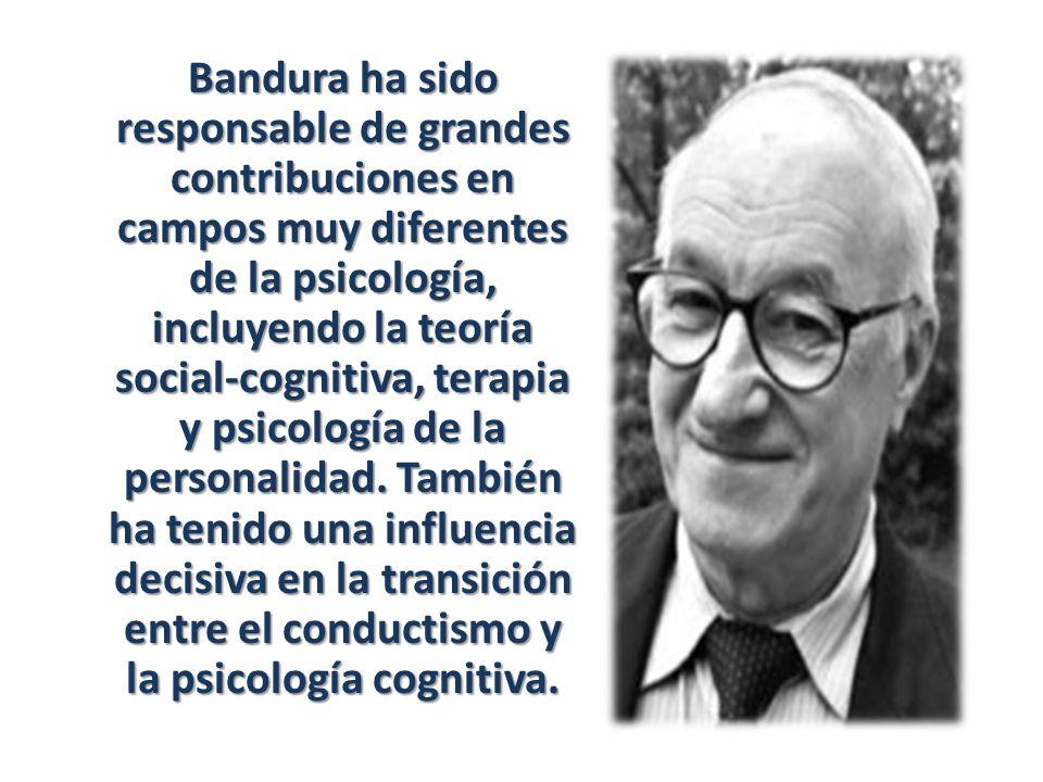 Bandura ha sido responsable de grandes contribuciones en campos muy diferentes de la psicología, incluyendo la teoría social-cognitiva, terapia y psic