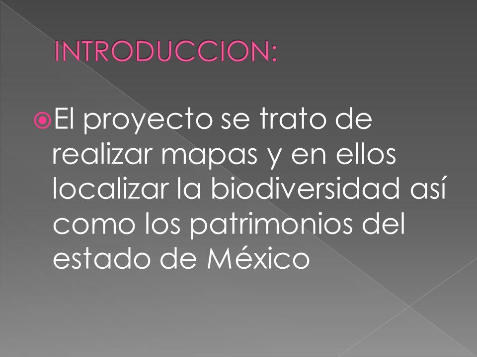 El proyecto se trato de realizar mapas y en ellos localizar la biodiversidad así como los patrimonios del estado de México