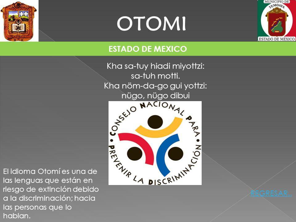 ESTADO DE MEXICO OTOMI Kha sa-tuy hiadi miyottzi: sa-tuh motti. Kha nöm-da-go gui yottzi: nügo, nügo dibui El idioma Otomí es una de las lenguas que e