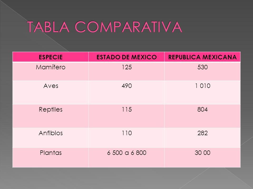 ESPECIEESTADO DE MEXICOREPUBLICA MEXICANA Mamífero125530 Aves4901 010 Reptiles115804 Anfibios110282 Plantas6 500 a 6 80030 00