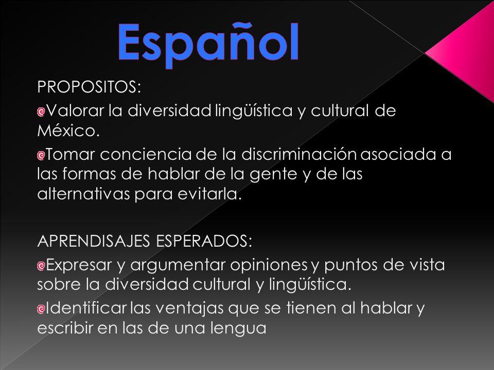 PROPOSITOS: Valorar la diversidad lingüística y cultural de México. Tomar conciencia de la discriminación asociada a las formas de hablar de la gente