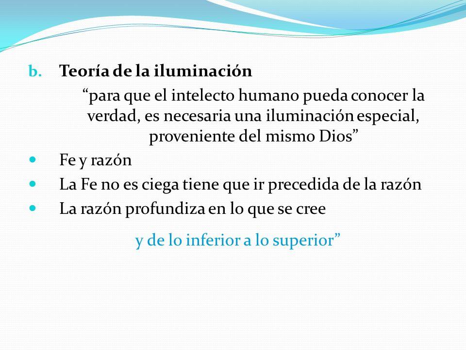 b. Teoría de la iluminación para que el intelecto humano pueda conocer la verdad, es necesaria una iluminación especial, proveniente del mismo Dios Fe