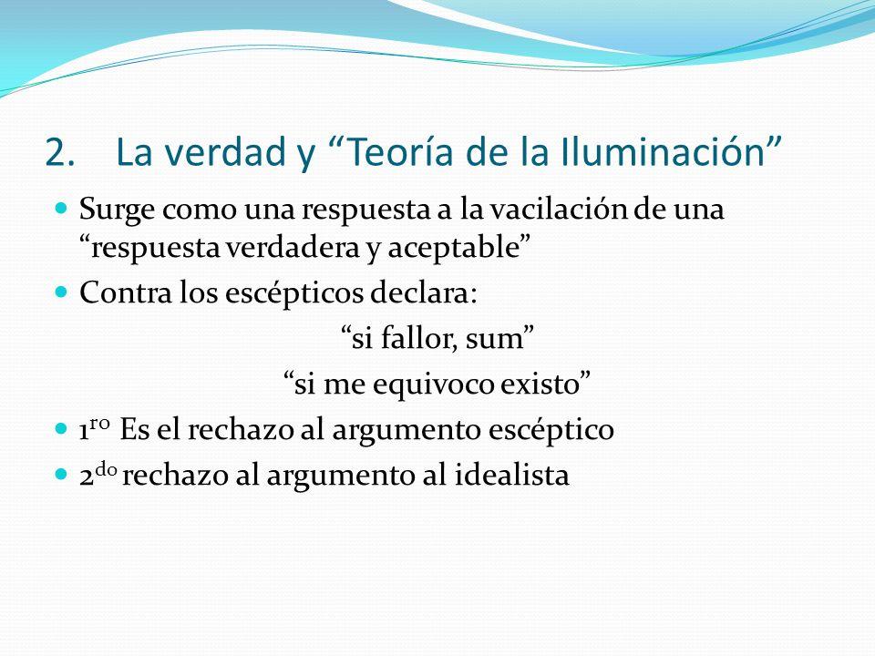2.La verdad y Teoría de la Iluminación Surge como una respuesta a la vacilación de una respuesta verdadera y aceptable Contra los escépticos declara: