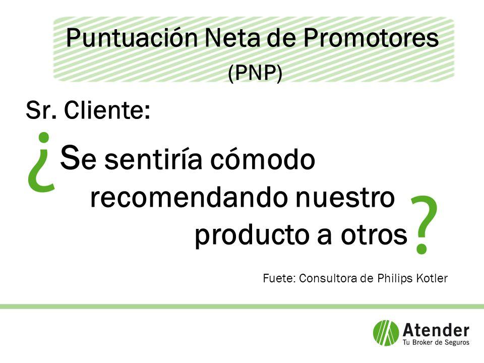 Puntuación Neta de Promotores (PNP) Fuete: Consultora de Philips Kotler Sr.
