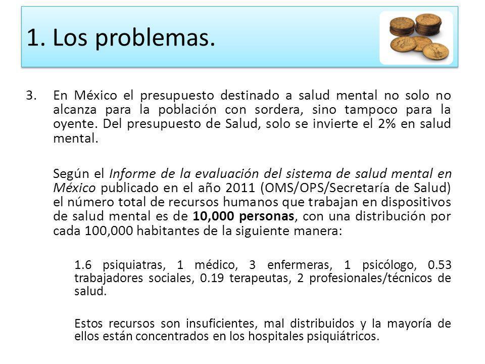 3.En México el presupuesto destinado a salud mental no solo no alcanza para la población con sordera, sino tampoco para la oyente. Del presupuesto de