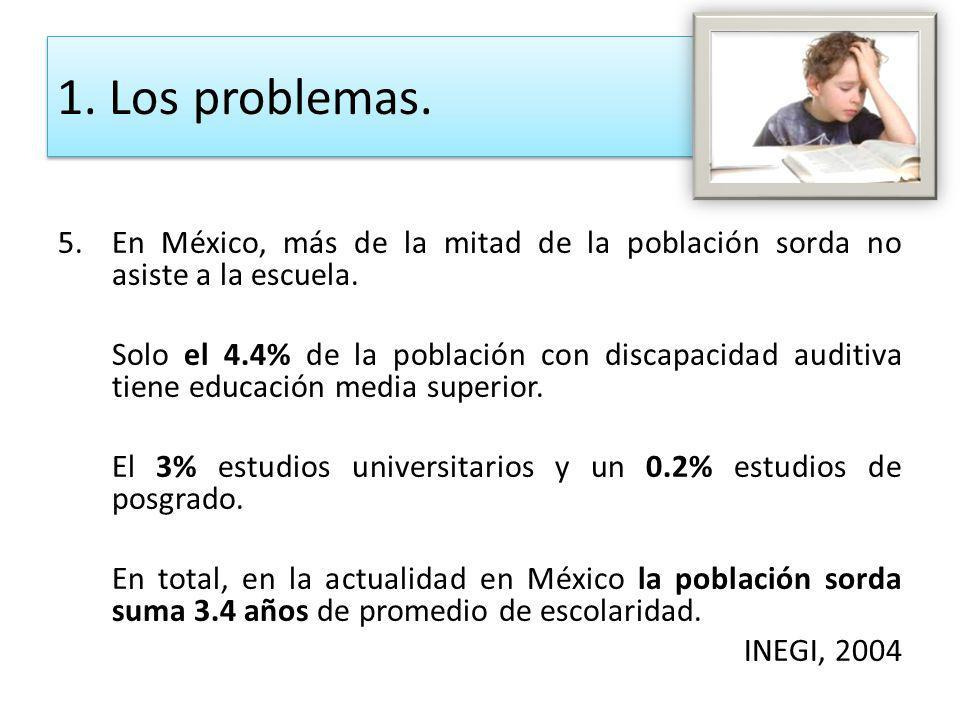 5.En México, más de la mitad de la población sorda no asiste a la escuela. Solo el 4.4% de la población con discapacidad auditiva tiene educación medi