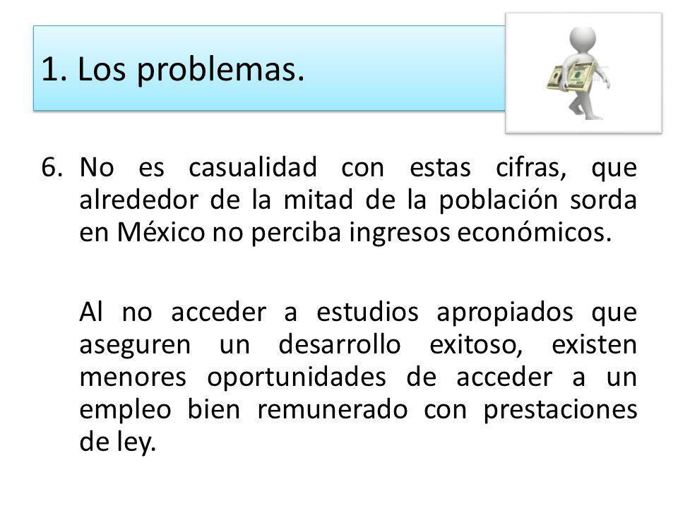 6.No es casualidad con estas cifras, que alrededor de la mitad de la población sorda en México no perciba ingresos económicos. Al no acceder a estudio