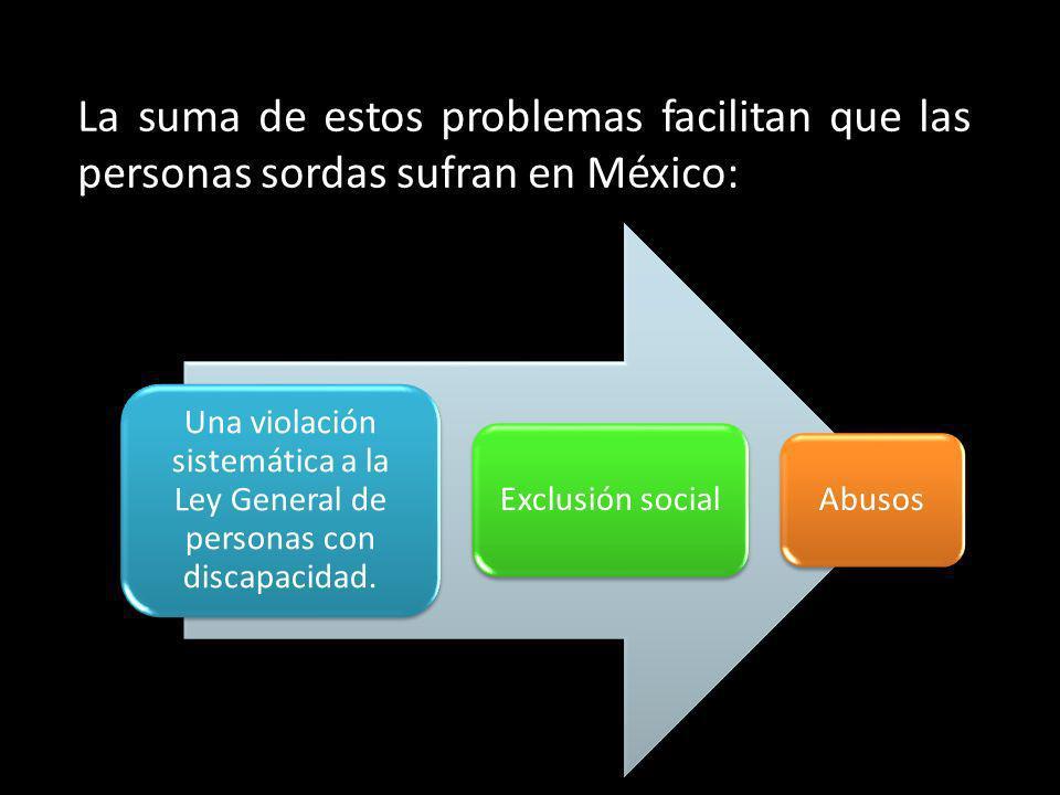 La suma de estos problemas facilitan que las personas sordas sufran en México: Una violación sistemática a la Ley General de personas con discapacidad