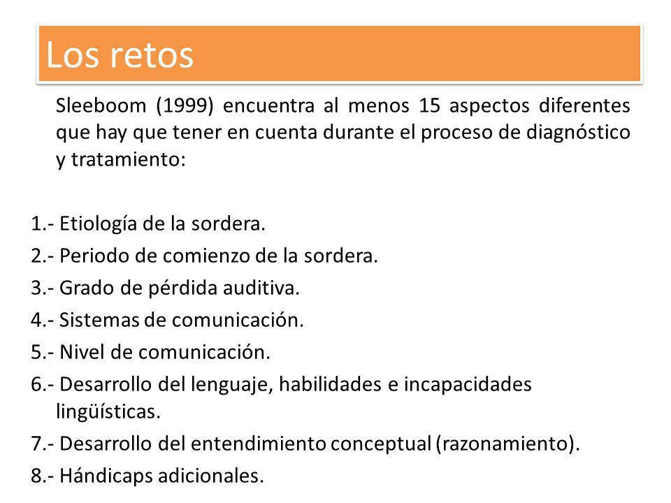Sleeboom (1999) encuentra al menos 15 aspectos diferentes que hay que tener en cuenta durante el proceso de diagnóstico y tratamiento: 1.- Etiología d