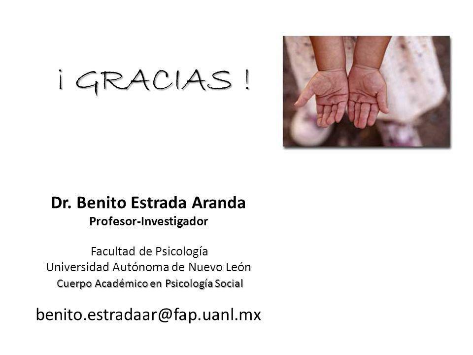 Dr. Benito Estrada Aranda Profesor-Investigador Facultad de Psicología Universidad Autónoma de Nuevo León Cuerpo Académico en Psicología Social Cuerpo