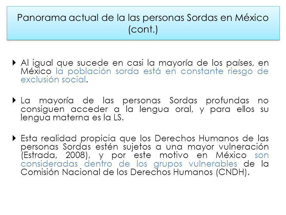 Panorama actual de la las personas Sordas en México (cont.) Al igual que sucede en casi la mayoría de los países, en México la población sorda está en