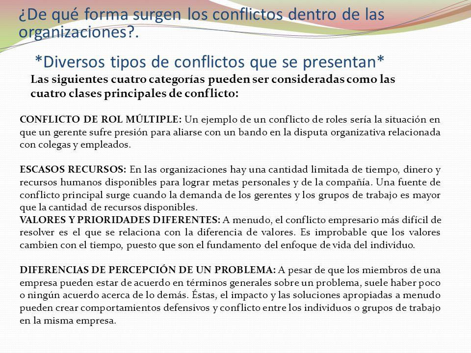 ¿De qué forma surgen los conflictos dentro de las organizaciones?. *Diversos tipos de conflictos que se presentan* Las siguientes cuatro categorías pu