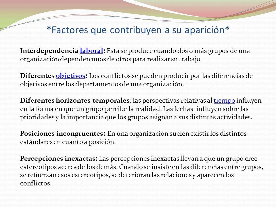 *Factores que contribuyen a su aparición* Interdependencia laboral: Esta se produce cuando dos o más grupos de una organización dependen unos de otros