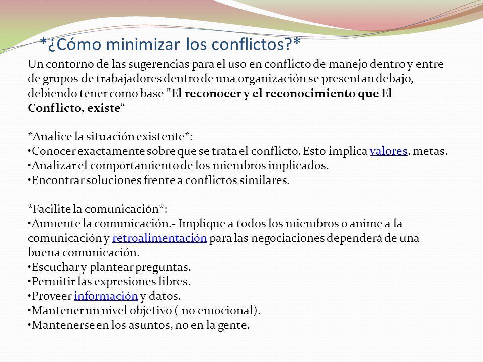 *¿Cómo minimizar los conflictos?* Un contorno de las sugerencias para el uso en conflicto de manejo dentro y entre de grupos de trabajadores dentro de