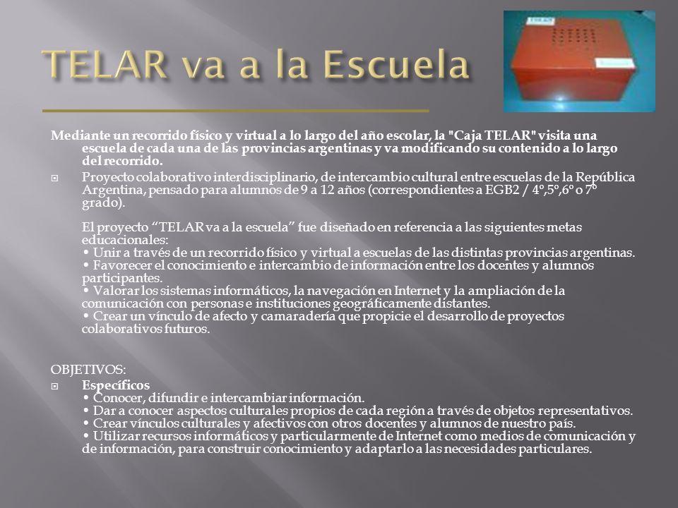 Mediante un recorrido físico y virtual a lo largo del año escolar, la Caja TELAR visita una escuela de cada una de las provincias argentinas y va modificando su contenido a lo largo del recorrido.