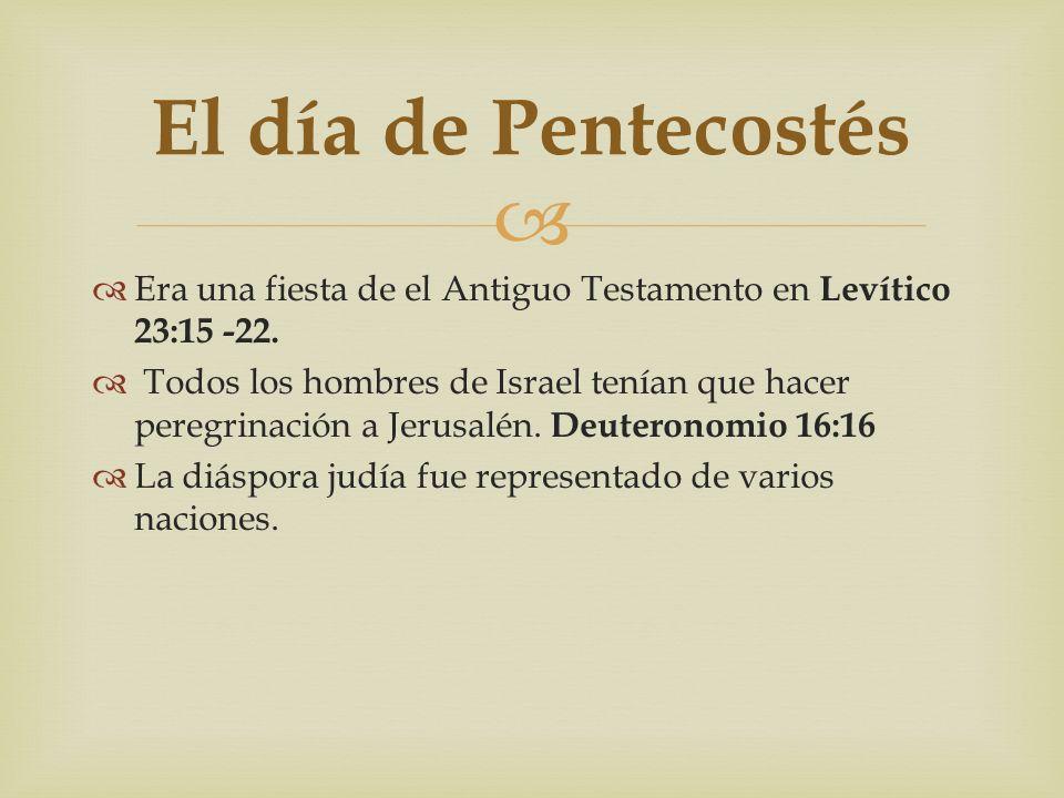 Era una fiesta de el Antiguo Testamento en Levítico 23:15 -22. Todos los hombres de Israel tenían que hacer peregrinación a Jerusalén. Deuteronomio 16