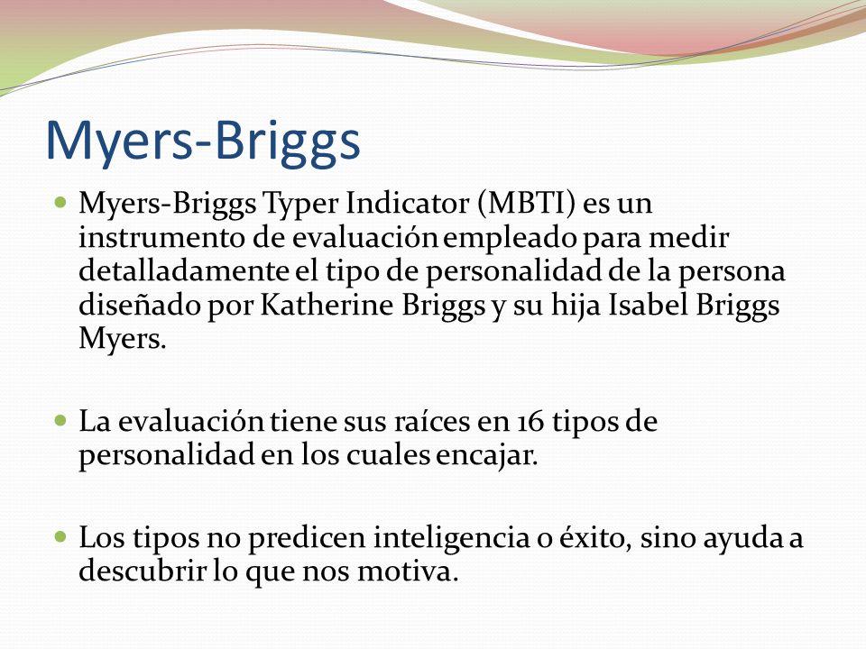 Myers-Briggs Myers-Briggs Typer Indicator (MBTI) es un instrumento de evaluación empleado para medir detalladamente el tipo de personalidad de la persona diseñado por Katherine Briggs y su hija Isabel Briggs Myers.