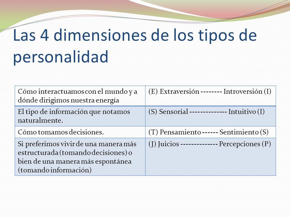 Las 4 dimensiones de los tipos de personalidad Cómo interactuamos con el mundo y a dónde dirigimos nuestra energía (E) Extraversión -------- Introversión (I) El tipo de información que notamos naturalmente.