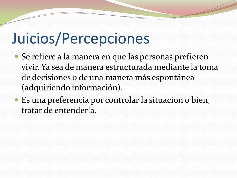 Juicios/Percepciones Se refiere a la manera en que las personas prefieren vivir.