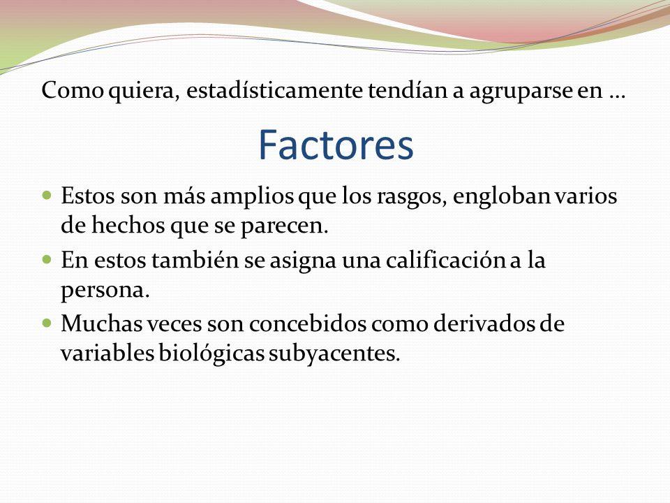 Factores Estos son más amplios que los rasgos, engloban varios de hechos que se parecen.