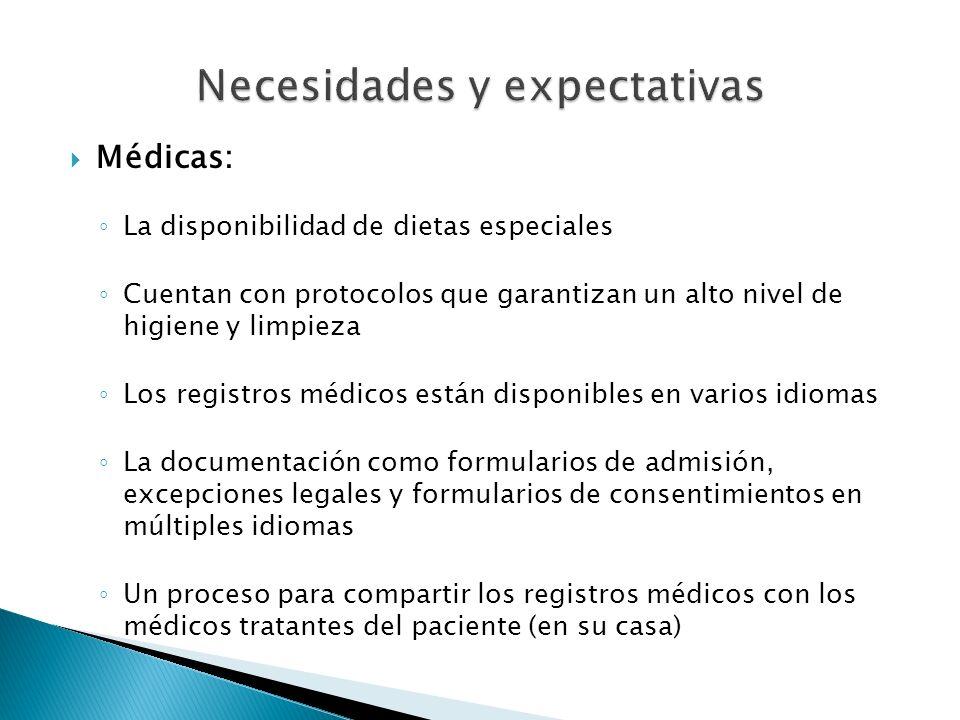 Médicas: La disponibilidad de dietas especiales Cuentan con protocolos que garantizan un alto nivel de higiene y limpieza Los registros médicos están