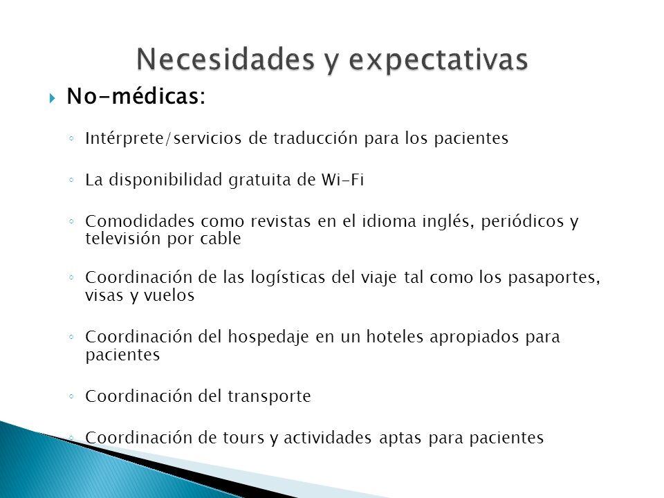 No-médicas: Intérprete/servicios de traducción para los pacientes La disponibilidad gratuita de Wi-Fi Comodidades como revistas en el idioma inglés, p