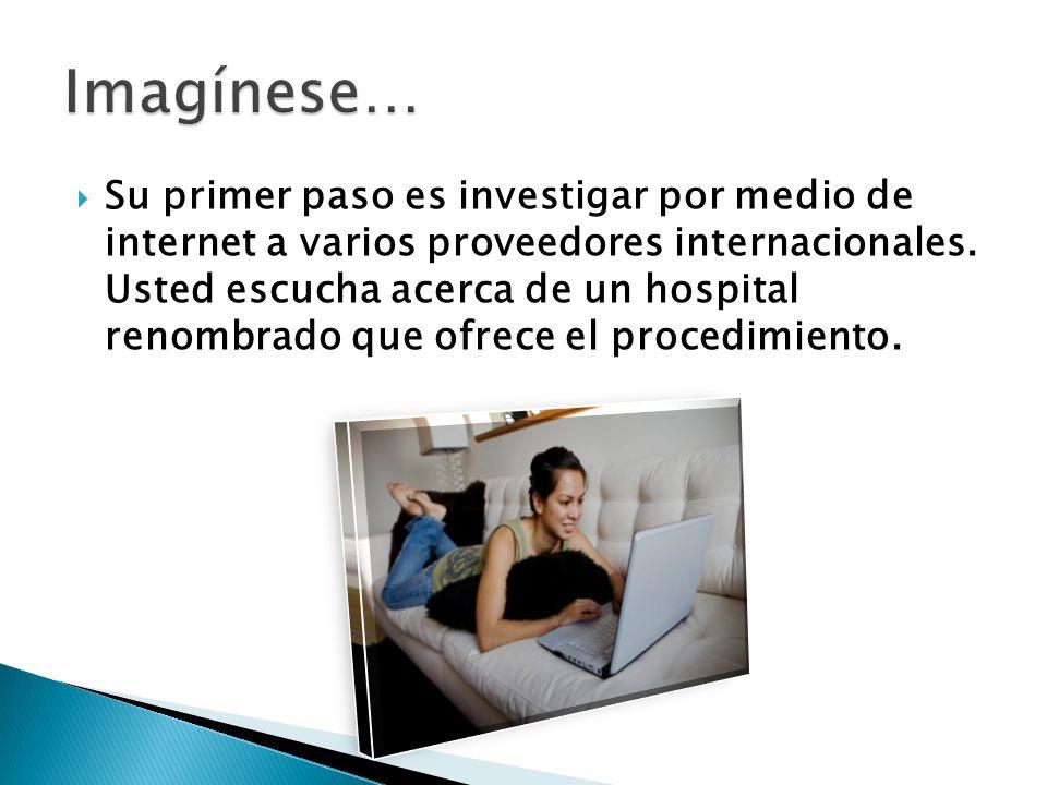 Su primer paso es investigar por medio de internet a varios proveedores internacionales. Usted escucha acerca de un hospital renombrado que ofrece el