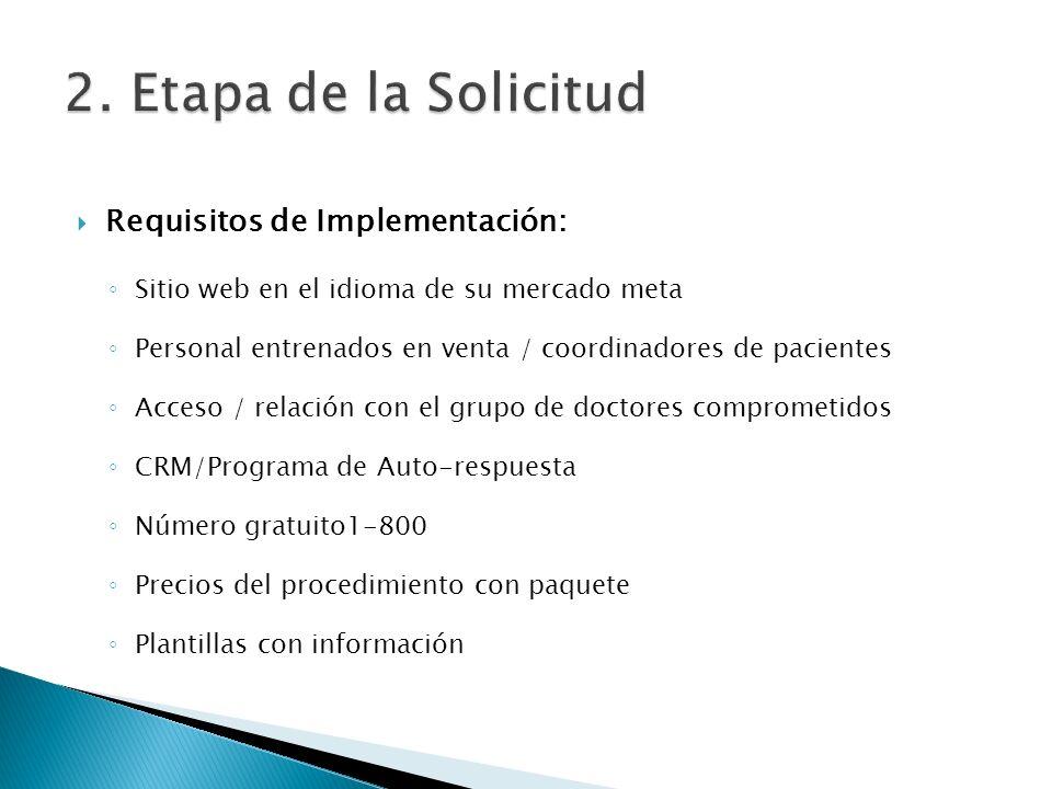 Requisitos de Implementación: Sitio web en el idioma de su mercado meta Personal entrenados en venta / coordinadores de pacientes Acceso / relación co