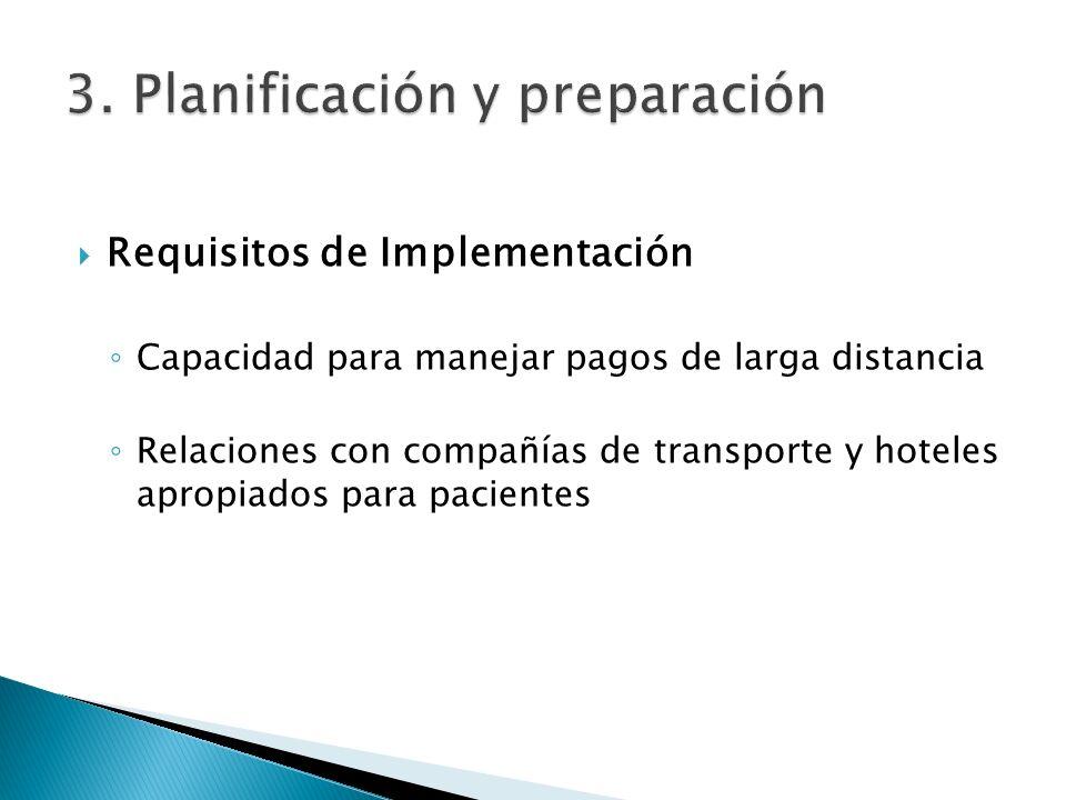 Requisitos de Implementación Capacidad para manejar pagos de larga distancia Relaciones con compañías de transporte y hoteles apropiados para paciente