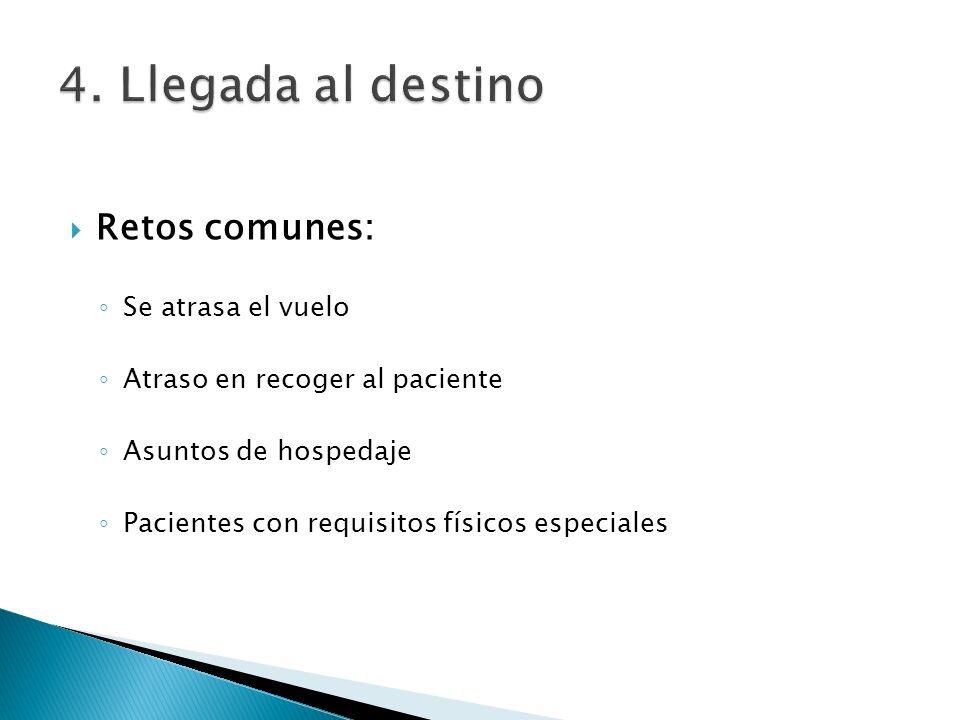 Retos comunes: Se atrasa el vuelo Atraso en recoger al paciente Asuntos de hospedaje Pacientes con requisitos físicos especiales