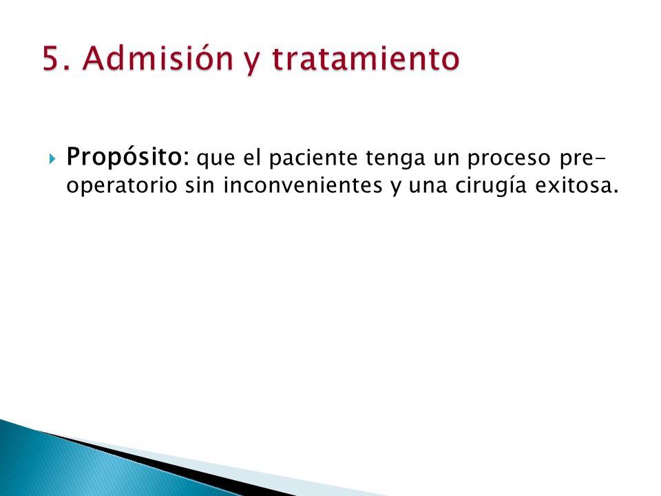 Propósito: que el paciente tenga un proceso pre- operatorio sin inconvenientes y una cirugía exitosa.