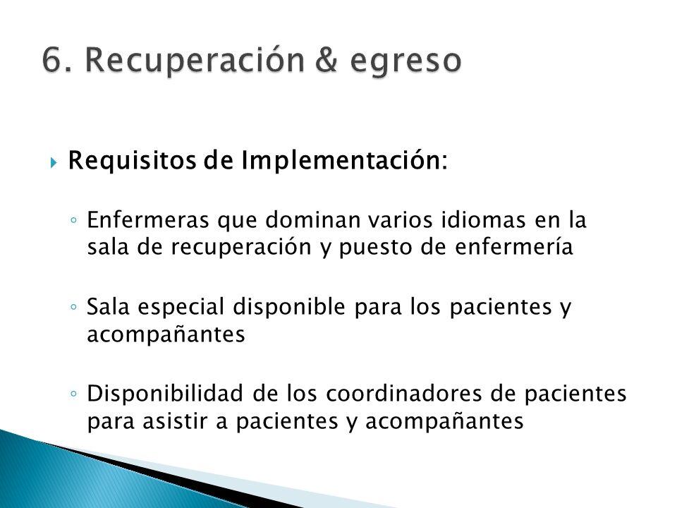 Requisitos de Implementación: Enfermeras que dominan varios idiomas en la sala de recuperación y puesto de enfermería Sala especial disponible para lo