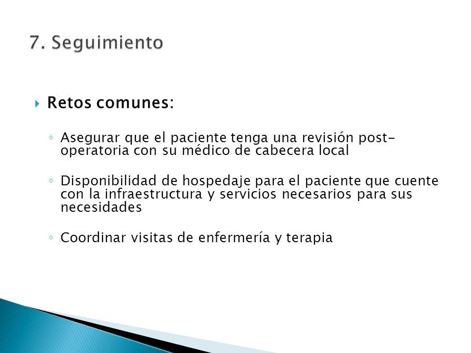 Retos comunes: Asegurar que el paciente tenga una revisión post- operatoria con su médico de cabecera local Disponibilidad de hospedaje para el pacien