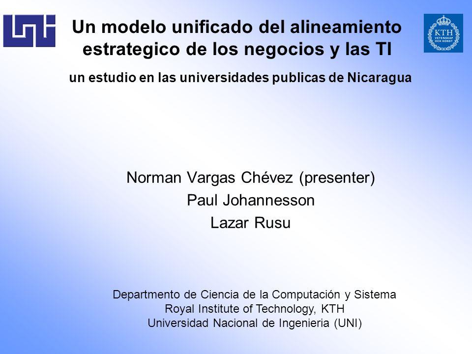 Un modelo unificado del alineamiento estrategico de los negocios y las TI un estudio en las universidades publicas de Nicaragua Norman Vargas Chévez (