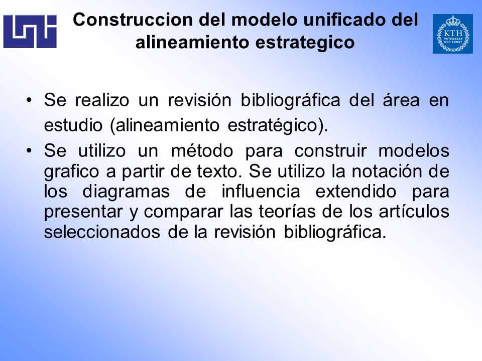 Construccion del modelo unificado del alineamiento estrategico Se realizo un revisión bibliográfica del área en estudio (alineamiento estratégico). Se