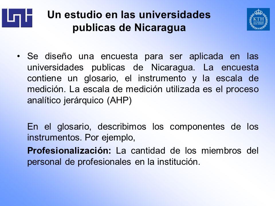 Un estudio en las universidades publicas de Nicaragua Se diseño una encuesta para ser aplicada en las universidades publicas de Nicaragua. La encuesta