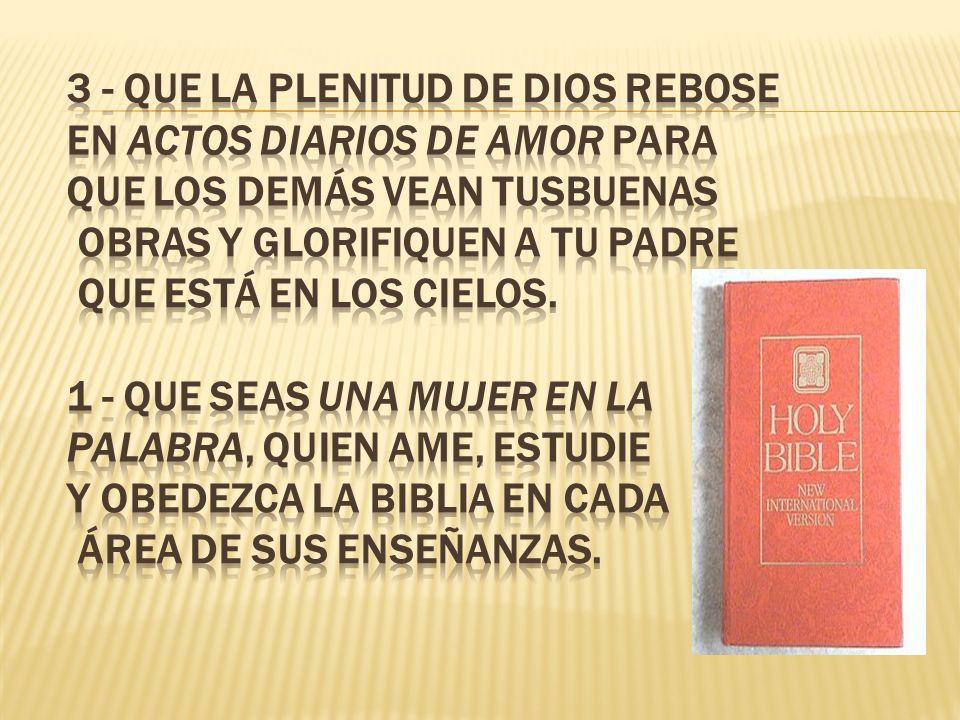 1 -Que toda tu vida- sea cual fuere tu llamado-sea dedicada para la gloria de Dios. 2 -Que confíes plenamente en las promesas de Cristo de modo que la