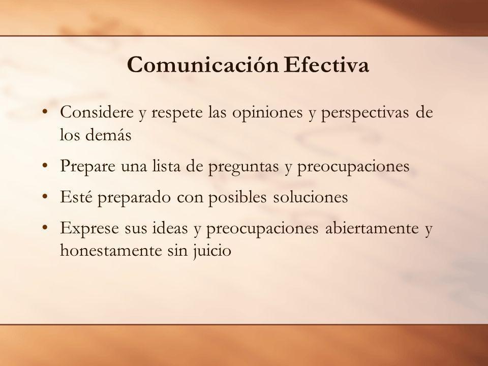 Comunicación Efectiva Considere y respete las opiniones y perspectivas de los demás Prepare una lista de preguntas y preocupaciones Esté preparado con