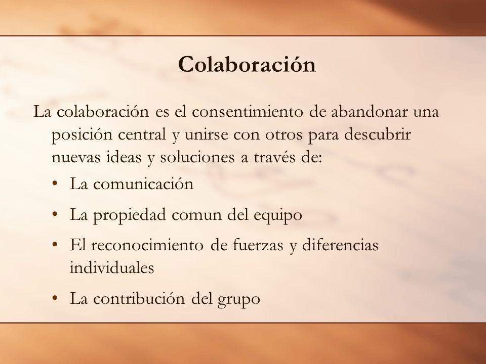 Colaboración La colaboración es el consentimiento de abandonar una posición central y unirse con otros para descubrir nuevas ideas y soluciones a través de: La comunicación La propiedad comun del equipo El reconocimiento de fuerzas y diferencias individuales La contribución del grupo