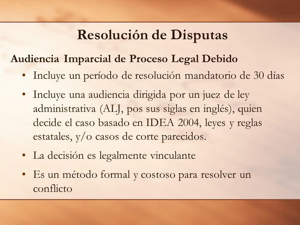 Resolución de Disputas Audiencia Imparcial de Proceso Legal Debido Incluye un período de resolución mandatorio de 30 días Incluye una audiencia dirigi