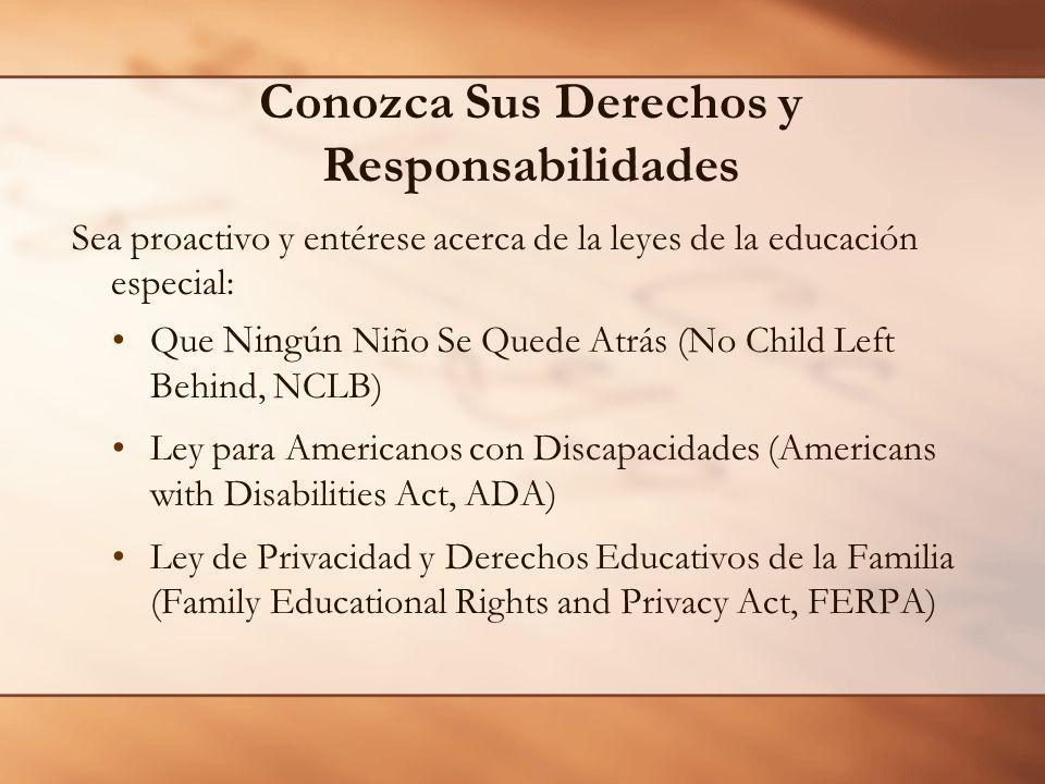 Sea proactivo y entérese acerca de la leyes de la educación especial: Que Ningún Niño Se Quede Atrás (No Child Left Behind, NCLB) Ley para Americanos