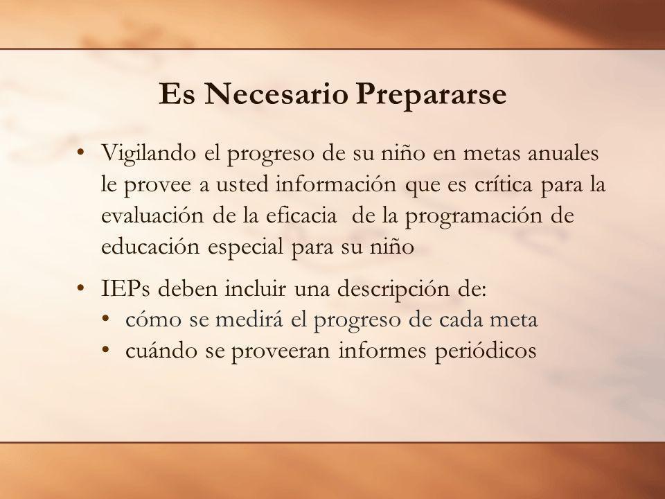 Es Necesario Prepararse Vigilando el progreso de su niño en metas anuales le provee a usted información que es crítica para la evaluación de la eficac