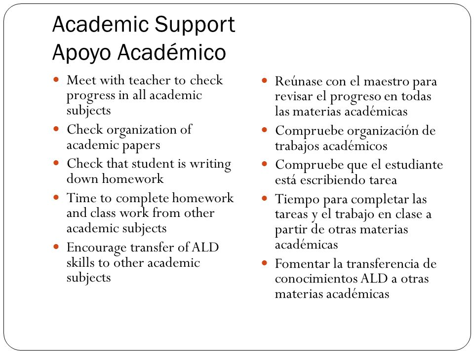 Academic Support Apoyo Académico Meet with teacher to check progress in all academic subjects Check organization of academic papers Check that student is writing down homework Time to complete homework and class work from other academic subjects Encourage transfer of ALD skills to other academic subjects Reúnase con el maestro para revisar el progreso en todas las materias académicas Compruebe organización de trabajos académicos Compruebe que el estudiante está escribiendo tarea Tiempo para completar las tareas y el trabajo en clase a partir de otras materias académicas Fomentar la transferencia de conocimientos ALD a otras materias académicas