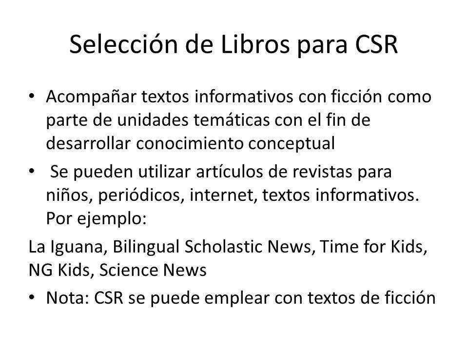 Selección de Libros para CSR Acompañar textos informativos con ficción como parte de unidades temáticas con el fin de desarrollar conocimiento concept