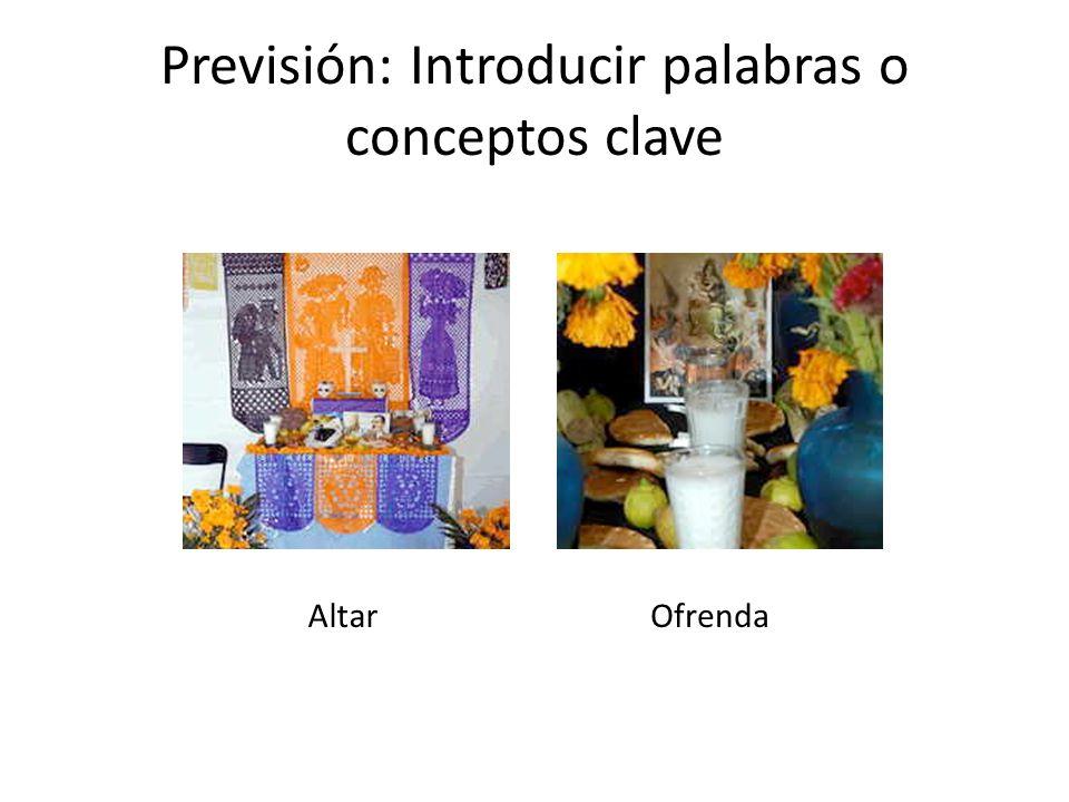 Previsión: Introducir palabras o conceptos clave Altar Ofrenda