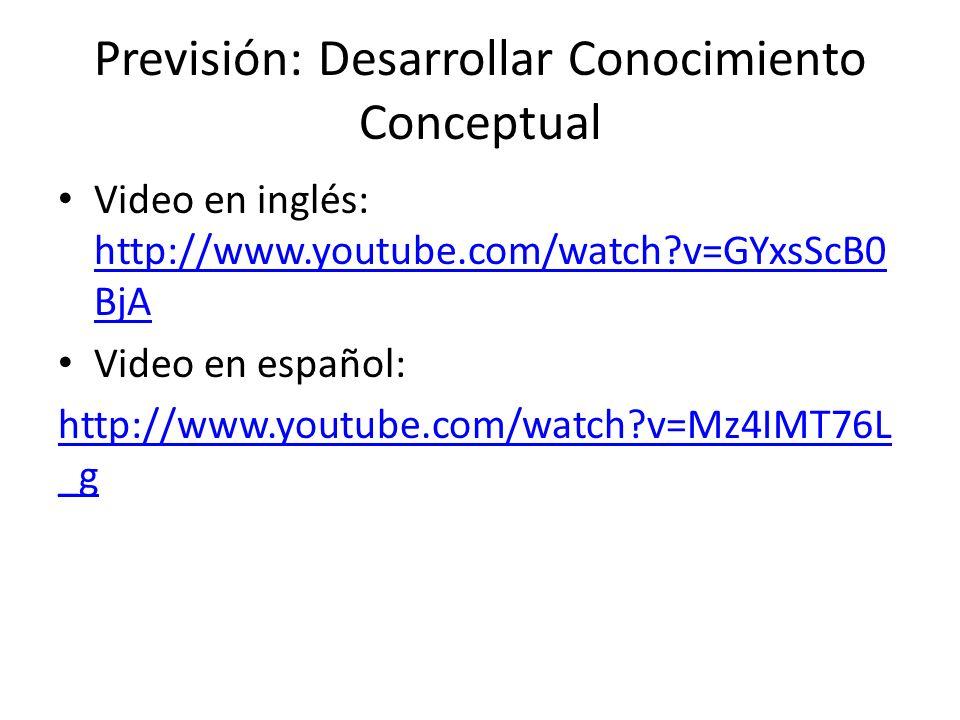 Previsión: Desarrollar Conocimiento Conceptual Video en inglés: http://www.youtube.com/watch?v=GYxsScB0 BjA http://www.youtube.com/watch?v=GYxsScB0 Bj