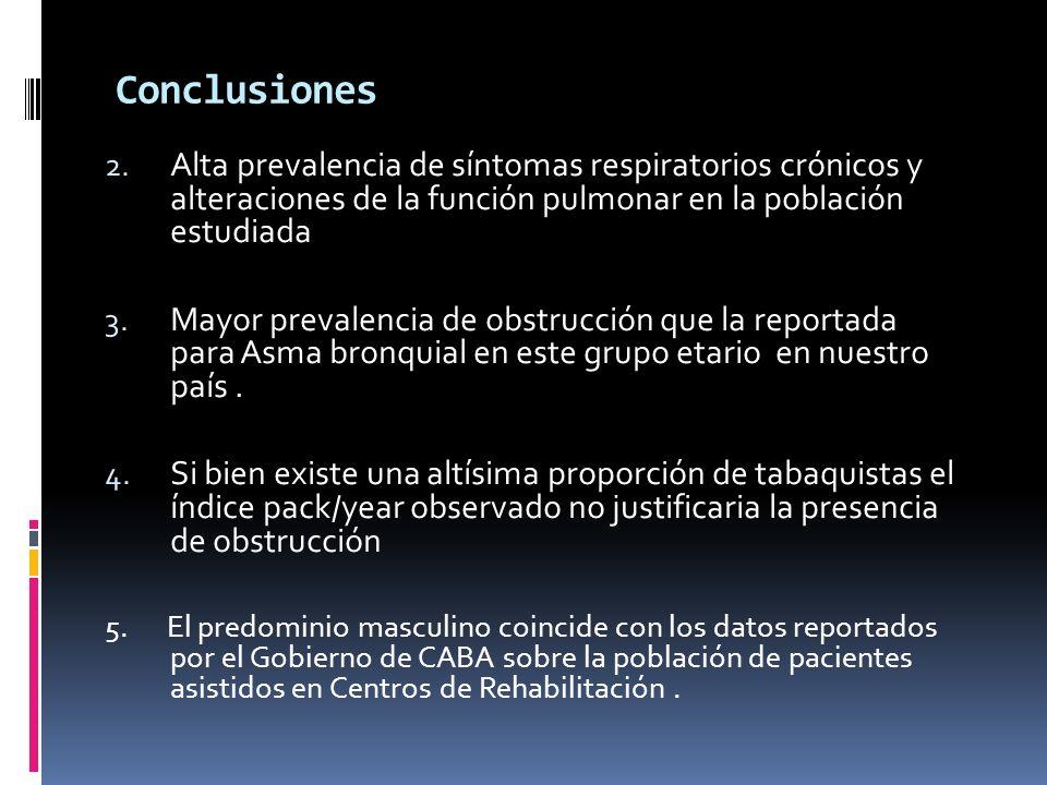 Conclusiones 2. Alta prevalencia de síntomas respiratorios crónicos y alteraciones de la función pulmonar en la población estudiada 3. Mayor prevalenc