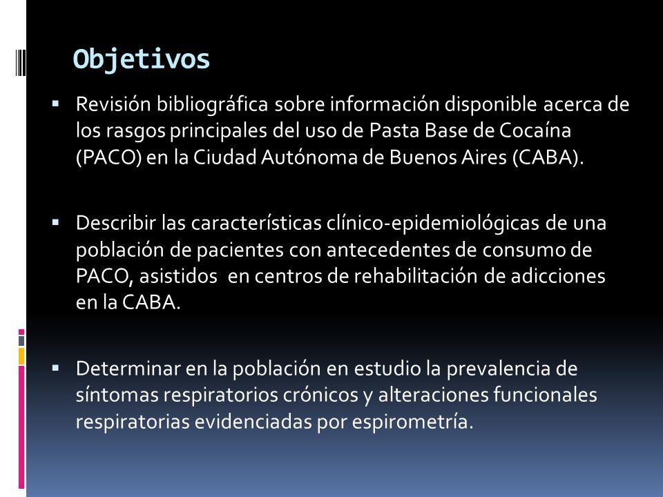 Objetivos Revisión bibliográfica sobre información disponible acerca de los rasgos principales del uso de Pasta Base de Cocaína (PACO) en la Ciudad Autónoma de Buenos Aires (CABA).