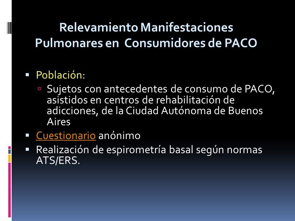 Población: Sujetos con antecedentes de consumo de PACO, asistidos en centros de rehabilitación de adicciones, de la Ciudad Autónoma de Buenos Aires Cu