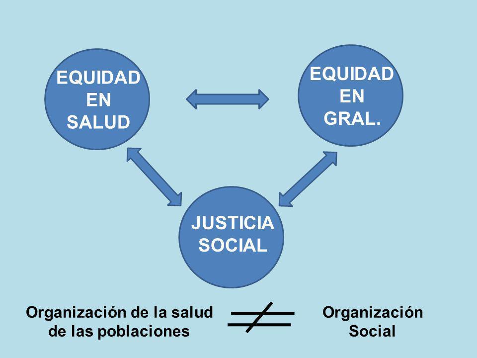 EQUIDAD EN SALUD EQUIDAD EN GRAL. JUSTICIA SOCIAL Organización de la salud de las poblaciones Organización Social